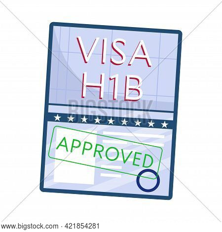 Approved Working American Visa, Top View, Isolated On A White Background. H1b Visa. Vector Illustrat