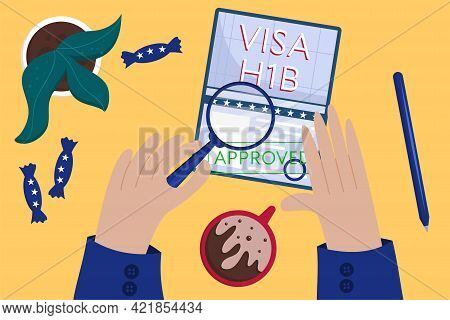 Concept Of An Approved Working American Visa, Top View. Employees Hands Approved American Visa. Coff