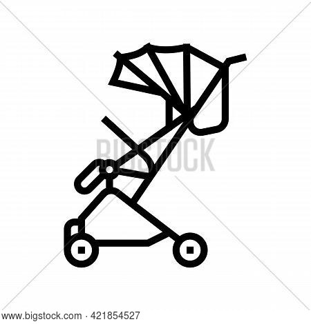 Stroller Walk Baby Line Icon Vector. Stroller Walk Baby Sign. Isolated Contour Symbol Black Illustra