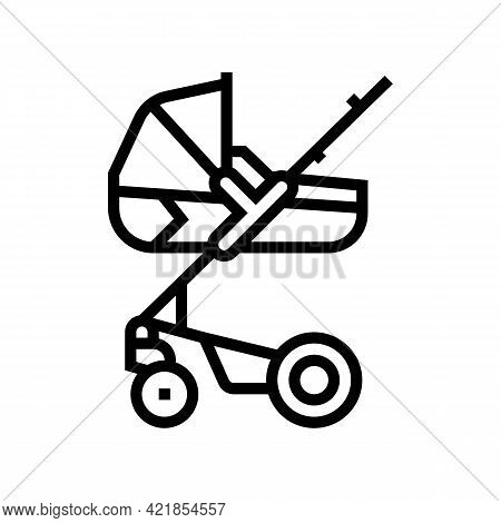 Stroller Carrycot Baby Line Icon Vector. Stroller Carrycot Baby Sign. Isolated Contour Symbol Black