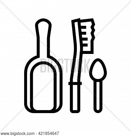 Shovel, Brush And Spoon For Prepare Coffee Line Icon Vector. Shovel, Brush And Spoon For Prepare Cof