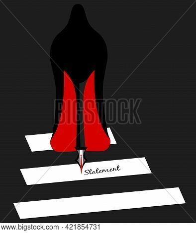 Illustration Of A Shoe With The Heel In The Shape Of A Pen Writing The Word Statement While Crossing