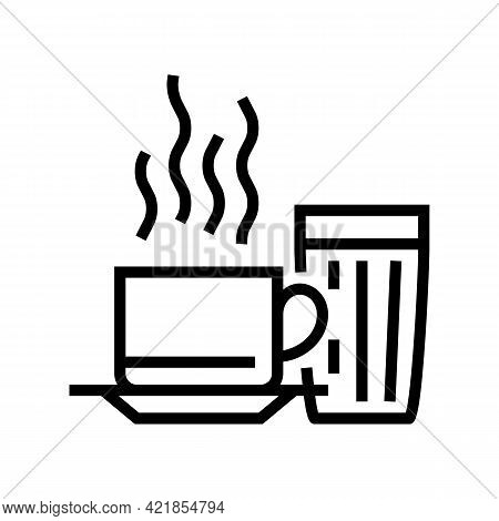 Hot Cup Of Coffee Line Icon Vector. Hot Cup Of Coffee Sign. Isolated Contour Symbol Black Illustrati