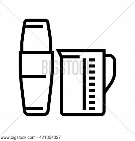 Measuring Cup And Mixer For Make Coffee Cocktail Line Icon Vector. Measuring Cup And Mixer For Make