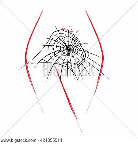 A Conceptual Illustration Of A Woman\'s Body With A Spider Web, Isolated On White