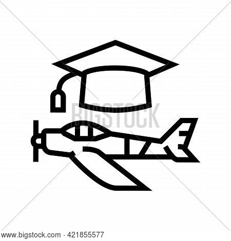 Graduate Flight School Line Icon Vector. Graduate Flight School Sign. Isolated Contour Symbol Black