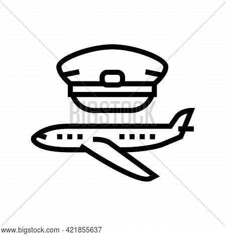 Commercial Aviation Flight School Line Icon Vector. Commercial Aviation Flight School Sign. Isolated