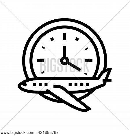 Flight Hours School Line Icon Vector. Flight Hours School Sign. Isolated Contour Symbol Black Illust