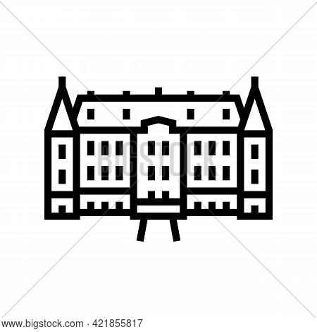 Chateau House Line Icon Vector. Chateau House Sign. Isolated Contour Symbol Black Illustration