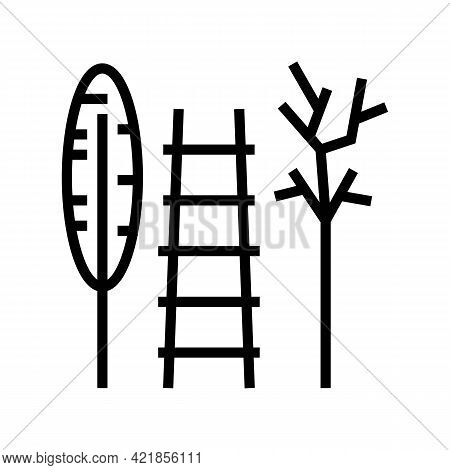 Stairs And Tool For Care House Plant Line Icon Vector. Stairs And Tool For Care House Plant Sign. Is