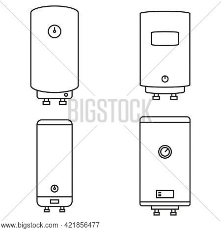 Home Water Heater Icons Set. Vector Illustration Of A Boiler With Pipes On A White Background. Edita