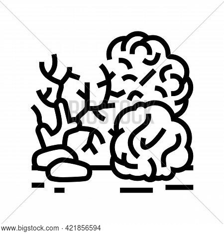 Reef Coral Ocean Line Icon Vector. Reef Coral Ocean Sign. Isolated Contour Symbol Black Illustration