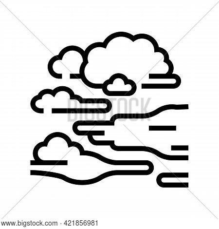 Fog Smoke Line Icon Vector. Fog Smoke Sign. Isolated Contour Symbol Black Illustration