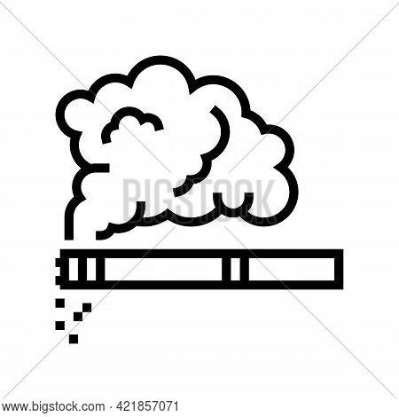 Tobacco Smoke Line Icon Vector. Tobacco Smoke Sign. Isolated Contour Symbol Black Illustration