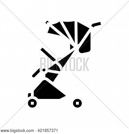 Stroller Walk Baby Glyph Icon Vector. Stroller Walk Baby Sign. Isolated Contour Symbol Black Illustr