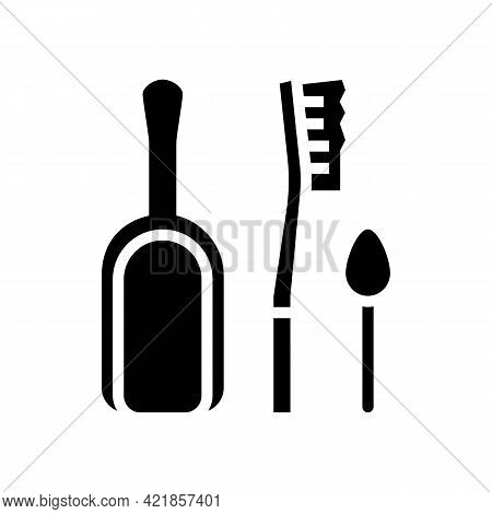 Shovel, Brush And Spoon For Prepare Coffee Glyph Icon Vector. Shovel, Brush And Spoon For Prepare Co