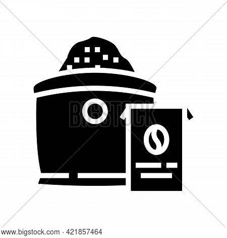 Ground Coffee Bag Glyph Icon Vector. Ground Coffee Bag Sign. Isolated Contour Symbol Black Illustrat