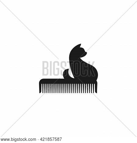 Pet Grooming. Comb And Cat Silhouette. Animal Haircut, Combing And Grooming Pets. Salon Logo.