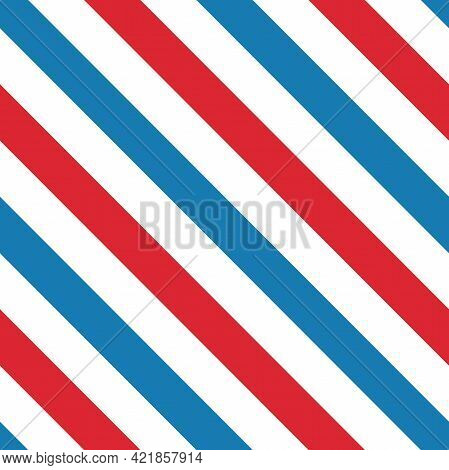 Line Diagonal Pattern. Barber Pole Traditional Background. Barbershop Symbol. Vector Red, White And