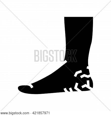 Heels Dry Skin Glyph Icon Vector. Heels Dry Skin Sign. Isolated Contour Symbol Black Illustration