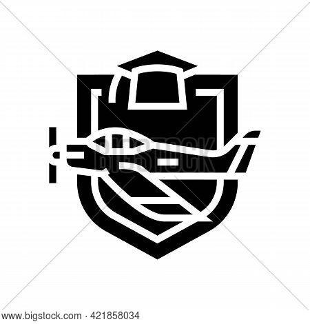 Graduation Flight School Glyph Icon Vector. Graduation Flight School Sign. Isolated Contour Symbol B