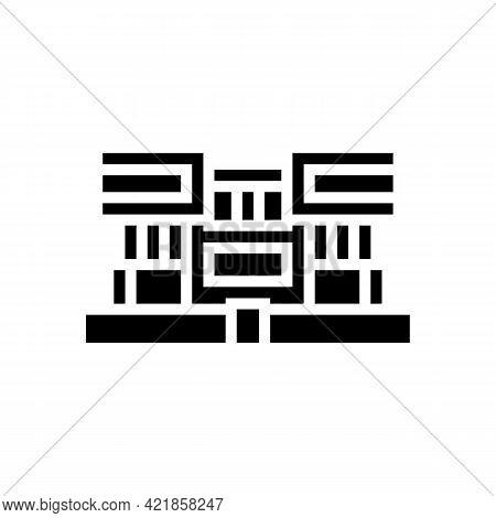 Villa House Glyph Icon Vector. Villa House Sign. Isolated Contour Symbol Black Illustration