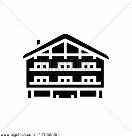 Chalet House Glyph Icon Vector. Chalet House Sign. Isolated Contour Symbol Black Illustration