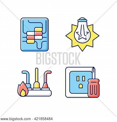 Electrician Service Rgb Color Icons Set. Circuit Breaker Panel. Exploding Light Bulb. Outlet Repair.