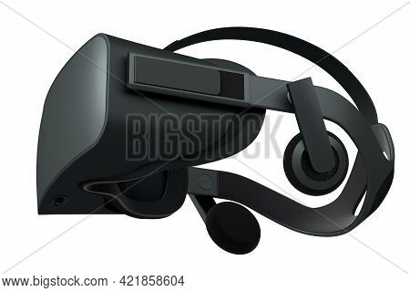Virtual Black Reality Glasses Isolated On White Background. 3D Rendering