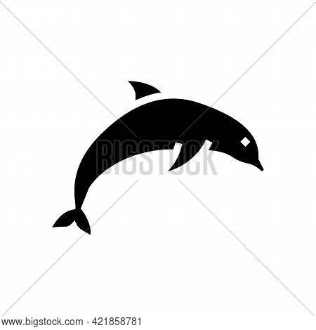 Dolphin Ocean Glyph Icon Vector. Dolphin Ocean Sign. Isolated Contour Symbol Black Illustration
