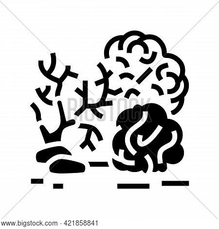 Reef Coral Ocean Glyph Icon Vector. Reef Coral Ocean Sign. Isolated Contour Symbol Black Illustratio