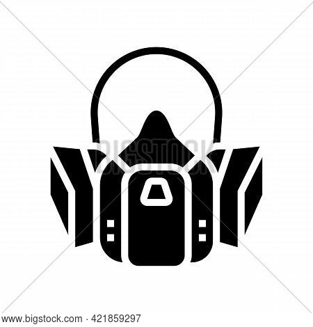 Respirator Protection From Smoke Glyph Icon Vector. Respirator Protection From Smoke Sign. Isolated