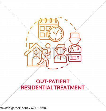 Out Patient Residential Treatment Concept Icon. Rehabilitation Types. Dangerous Disease Treatment. P