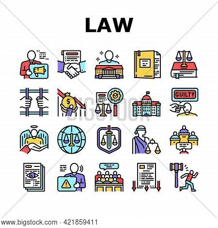 Law Notary Advising Collection Icons Set Vector. Law Advisor And Agreement, Government Building, Cou