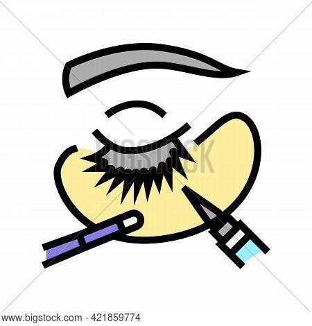 Correction Eyelashes Color Icon Vector. Correction Eyelashes Sign. Isolated Symbol Illustration