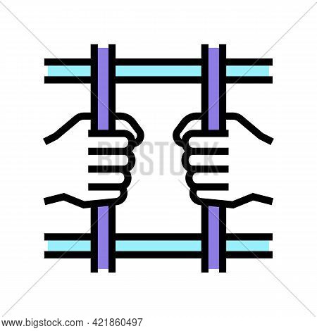 Crime Law Color Icon Vector. Crime Law Sign. Isolated Symbol Illustration