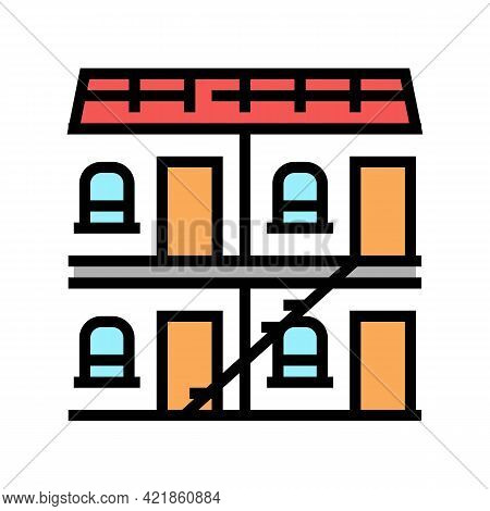 Building Hotel Color Icon Vector. Building Hotel Sign. Isolated Symbol Illustration