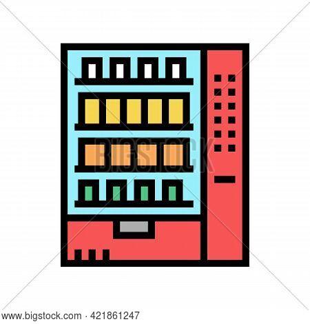 Snack Vending Machine Motel Color Icon Vector. Snack Vending Machine Motel Sign. Isolated Symbol Ill