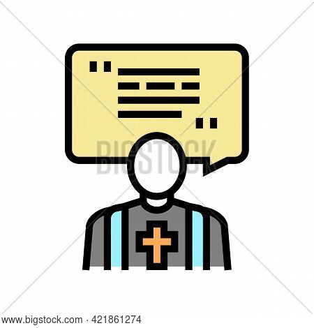 Priest Pet Funeral Color Icon Vector. Priest Pet Funeral Sign. Isolated Symbol Illustration