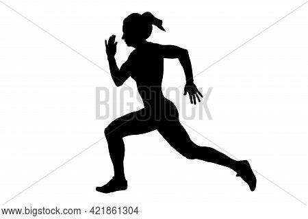 Young Female Athlete Runner Run Sprint Race Black Silhouette