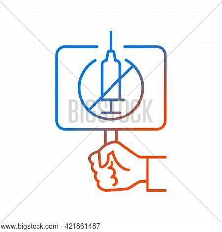 Anti Vaxxer Gradient Linear Vector Icon. Demonstration Against Covid Drug Injections. Placard For An