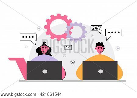 Vector Illustration, Customer Service, Online Global Technical Support 24 7, Customer And Operator,