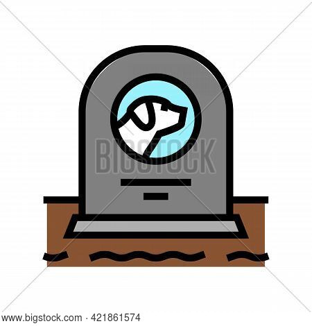 Dog Dead Pet Monument Color Icon Vector. Dog Dead Pet Monument Sign. Isolated Symbol Illustration