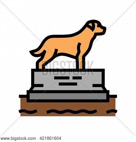 Dead Dog Pedestal Color Icon Vector. Dead Dog Pedestal Sign. Isolated Symbol Illustration