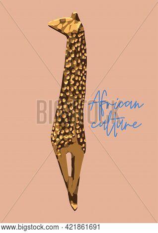 Vintage Primitive Woodenn Statuette Of A Giraffe.