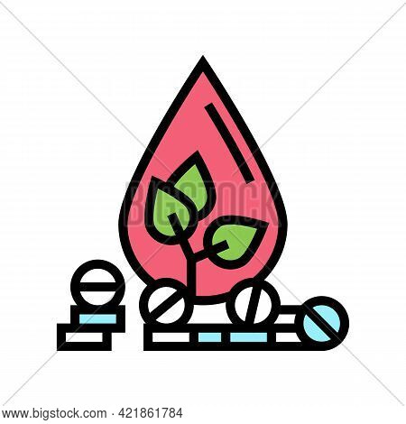 Medicaments For Blood Phytotherapy Color Icon Vector. Medicaments For Blood Phytotherapy Sign. Isola