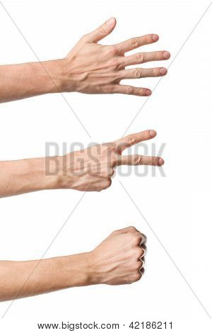 Three hand gestures. Rock Paper Scissors game
