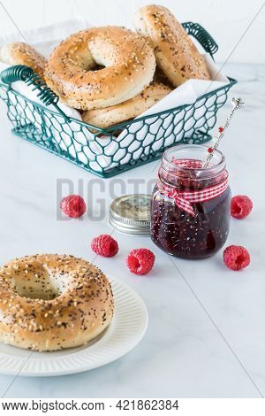 Everything Bagels With Raspberry Jam Ready For Eating.
