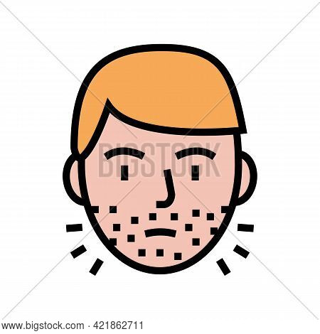 Hairy Face Man Color Icon Vector. Hairy Face Man Sign. Isolated Symbol Illustration