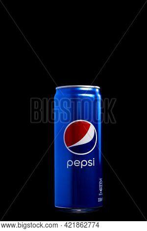 Editorial Photo Of Classic Pepsi Can On Black Background. Studio Shot In Bucharest, Romania, 2021
